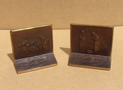 "Antique 9977 Solid Bronze Bookends J. F. Millet's ""The Angelus and The Gleaners"""