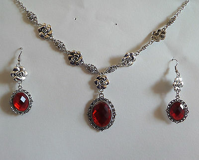 Camellia Filigree Victorian Style Orange Red Silver Plated Necklace Set Cfs