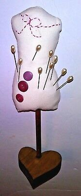 "Pin Cushion Dress Form Mannequin Tabletop w/9 Hat Pins 9 1/2"" Sewing Notions #34"