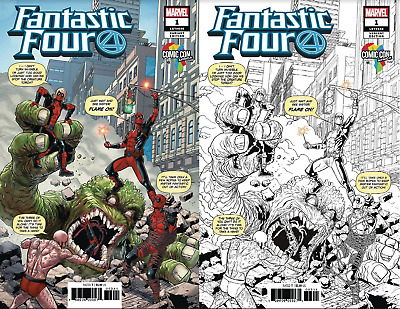 Fantastic Four #1 2018 Africa Comic Con Variant Color & Sketch Set Deadpool Rare