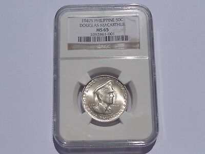 1947 S Philippine Douglas Macarthur 50 Centavos Ngc Ms-65 No Reserve! Must See!!