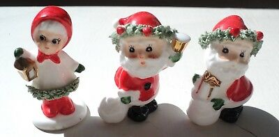 3 Vintage Napcoware Bone China Christmas Figurines Spaghetti Trim & Gold Accents