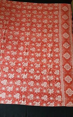 Antique Vintage Turkey Red Damask Cotton Tablecloth As Found 58 by 53""