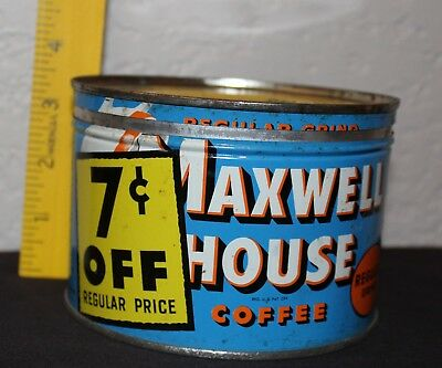 Maxwell House Coffee can - vintage 7 cents off Yellow Lid