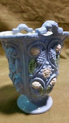 Beautiful Antique Post WW2 Sky Blue Vintage Miyata Handled Vase Urn Art Decor