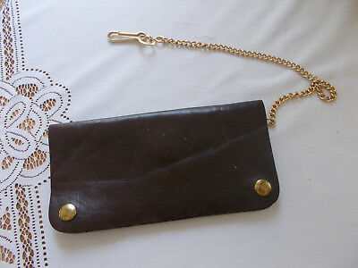 Vintage Mans Wallet on Chain Cowhide Leather