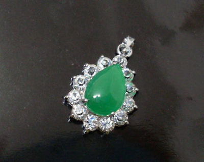 Beautiful Green Jade Water Drop Shape Silver Amulet Pendant Necklaces 04