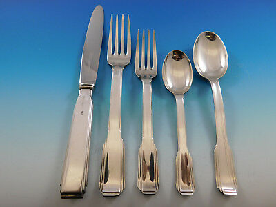 Art Deco by Ricci Italy Sterling Silver Flatware Service Set 20 pcs Dinner