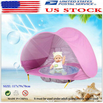 Hot US Baby Pool Tent Beach Tent with Pool UV Protection Sun Shelter Infant Pink