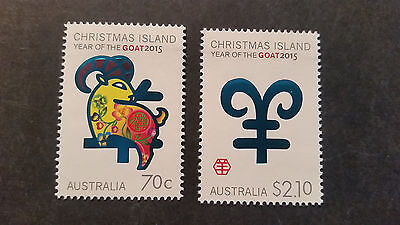 N0-1--2015  Christmas   Island -Year Of  Goat     2 Stamps -F/s --Mint