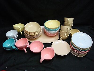 66 pieces of vintage retro Boonton melmac dishes camping picnics