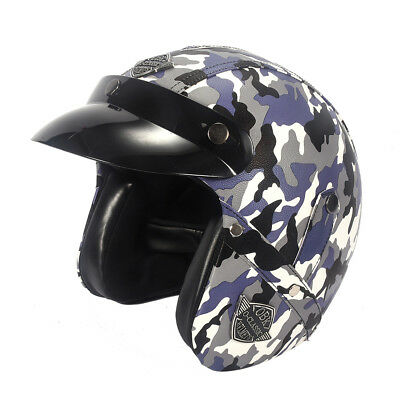 Leather Open Face Helmet Motorcycle Biker Cruiser Scooter Touring Camouflage Pur