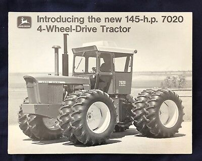 1970 JOHN DEERE  7020 4-WHEEL DRIVE TRACTOR 145 H.P. * 6 Page Fold Out Brochure