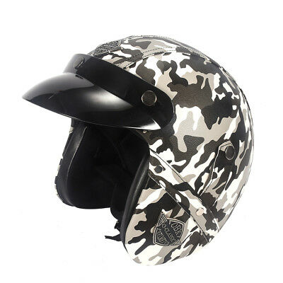 Leather Open Face Helmet Motorcycle Biker Cruiser Scooter Touring Camouflage wh