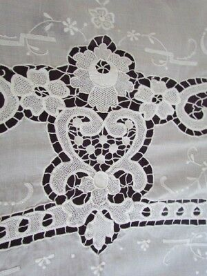 "98x64"" Point de Venise needle Lace Vintage White Tablecloth Linen Hand embroider"