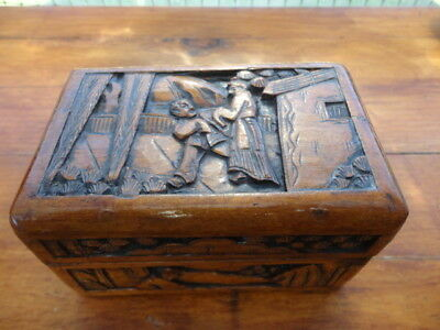 Vintage Chinese hand Carved Wooden Trinket Box with Interior Silk Lining