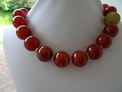 Wunderbare Kette ROT ACHAT 20 mm Halskette L-50 cm #c342 Collier