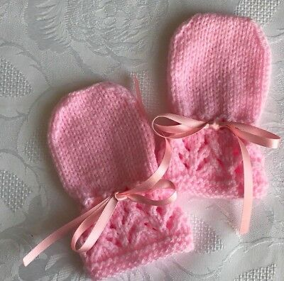 New Hand Knitted Baby Girl's Mittens, Baby Pink  Fits 0-3 Months