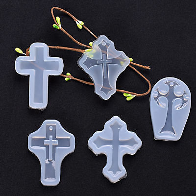 5x DIY Cross Silicone Pendant Mold Making Jewelry Resin Casting Mould Craft Kit