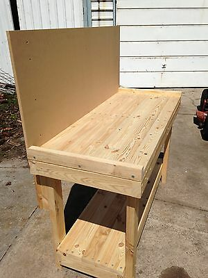 Custom Made Heavy Duty Timber Work Bench Table 1800 x 630 x 900 With backboard