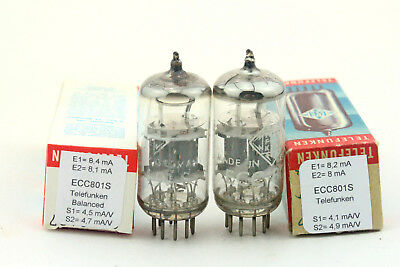 ECC801S / ECC81 / 12AT7 Telefunken <> matched pair Tube, Valve, Röhren, USED