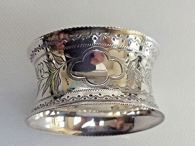 Antique Sterling/S Bright Cut Napkin Ring by Birm Maker Ahronsberg Brothers 1892