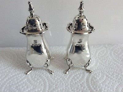 Pair of Antique S/S Pepper Shakers by Chester Makers James & William Deakin 1918