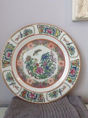 Large Chinese Plate. Famille Rose? 26cms Diameter. Butterfly Bird Pattern