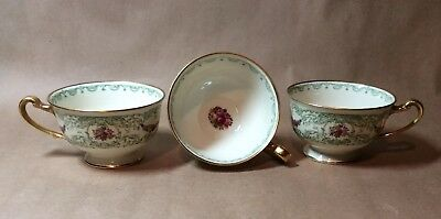 3 Vintage Duchess Selb Bavaria Footed Cups Green Scrolls & Band Floral Swags