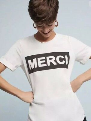 30880d78f Anthropologie Merci white graphic tee by Sol Angeles $78 Size Large NWOT