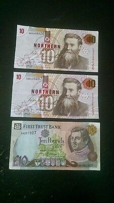 Set Of Three Ireland Bank Notes, 10 Pounds Sterling Circulated