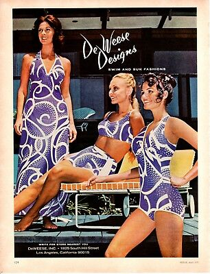 1973 Vintage print ad Beauty Fashion De Weese Designs Bathing suits United air