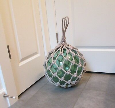 "40"" Circumference Japanese Glass Ball Fishing Float Buoy w/ Rope Net"