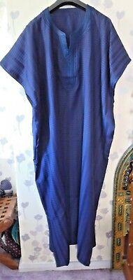 "Mens Traditional  Djellaba / Robe ~ Navy Blue~ 72"" Wide 54"" Long"