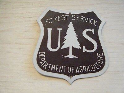 Vintage US Forest Service Department of Agriculture POST Shield Sign  5X5 1/2""