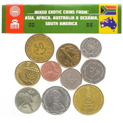 Mixed Lot 10 Exotic Coins From Asia, Africa, Caribbean & Oceania, South America
