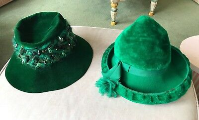 A lot of two green vintage Christian Dior hats. As is condition
