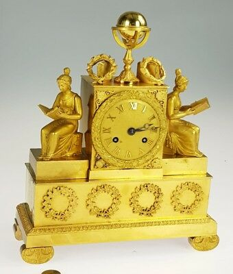 French Empire Bronze Figural mantle clock.