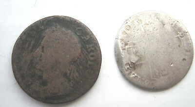 Charles II 1660-85  Farthing and Anne 1702 - 14 Sterling Silver Sixpence Qty 2