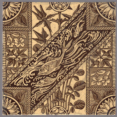 Mintons, Ltd - c1889 - Fish & Flora - Christopher Dresser - Victorian Tile