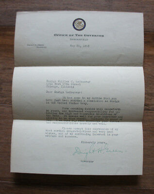 WWII 1943 signed Dwight Green Governor Illinois Navy promotion letter Ladouceur