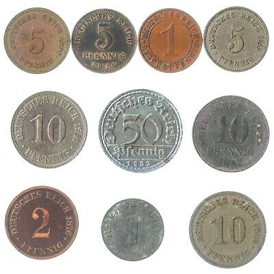 7 Deutsches Reich Coins 1871-1945: German Empire, Weimar, Nazi Germany Wwi Ww2