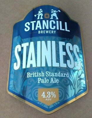 STANCILL brewery STAINLESS cask ale pump clip beer badge front Sheffield Yorks