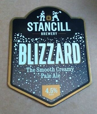 STANCILL brewery BLIZZARD cask ale pump clip beer badge front Yorks