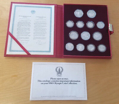 1980 RUSSIA USSR - MOSCOW OLYMPICS PROOF SILVER SET (28) w/ COA - 21 Oz -RED BOX