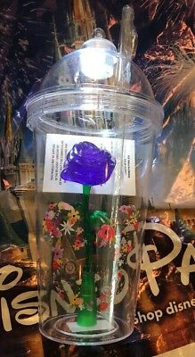 Disney Epcot Flower And Garden Purple Rose Light Up Cup Tumbler NEW Sipper