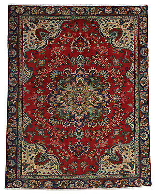 Vintage Persian Classic Floral Design Rug, 4'x5', Red/Blue, All wool pile