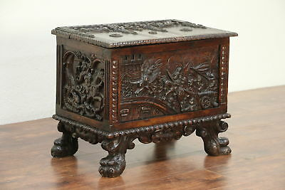 Miniature Carved Antique Cassone Dowry or Jewelry Chest or Trunk, Italy #29115