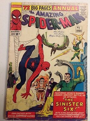 The Amazing Spider-Man Annual #1 1st Appearance of Sinister Six Marvel 1964 VG-