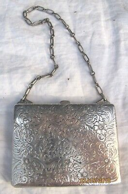 Sterling Silver Monogramed and Embossed Wallet with Chain 1909- 108g